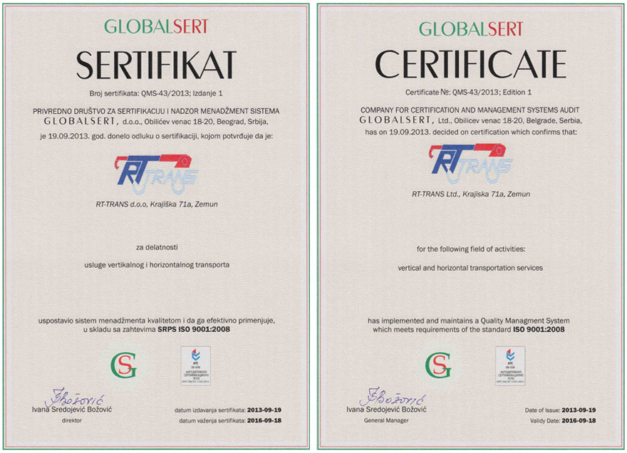 ISO9001 Certificates rt trans